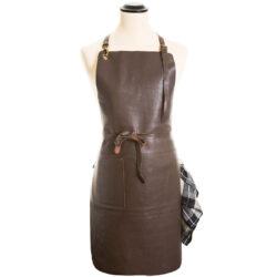Forklæde læder mørke brun
