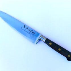K Sabatier 15 cm kokkekniv carbonstål mørkt bøge håndtag