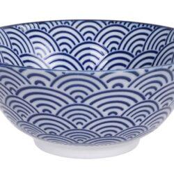 Håndlavet Japansk Skål Blå 15 cm Bølger