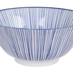 Håndlavet Japansk Skål Blå 15 cm Striber