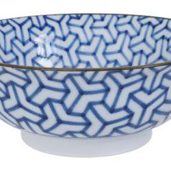Håndlavet Japansk Ramen Skål Blå 21 cm Mønster