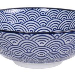 Håndlavet Japansk Ramen Skål Blå 21 cm Bølger