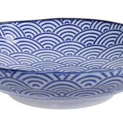 Håndlavet Japansk Pastatallerken Blå 21 cm Bølger
