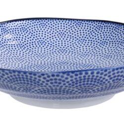 Håndlavet Japansk Pastatallerken Blå 21 cm Prikker