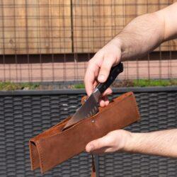Håndlavet Læder Knivtaske 2 Knive Brun